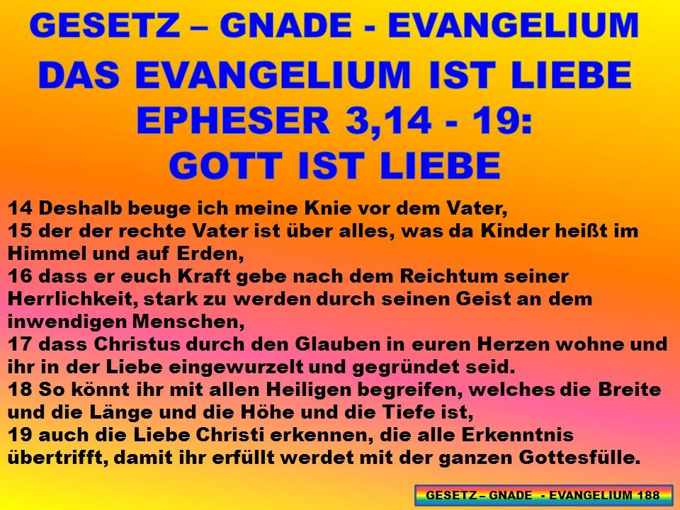 GESETZ – GNADE - EVANGELIUM DAS EVANGELIUM IST LIEBE