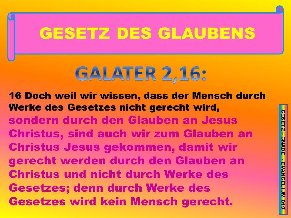 GESETZ – GNADE - EVANGELIUM 019