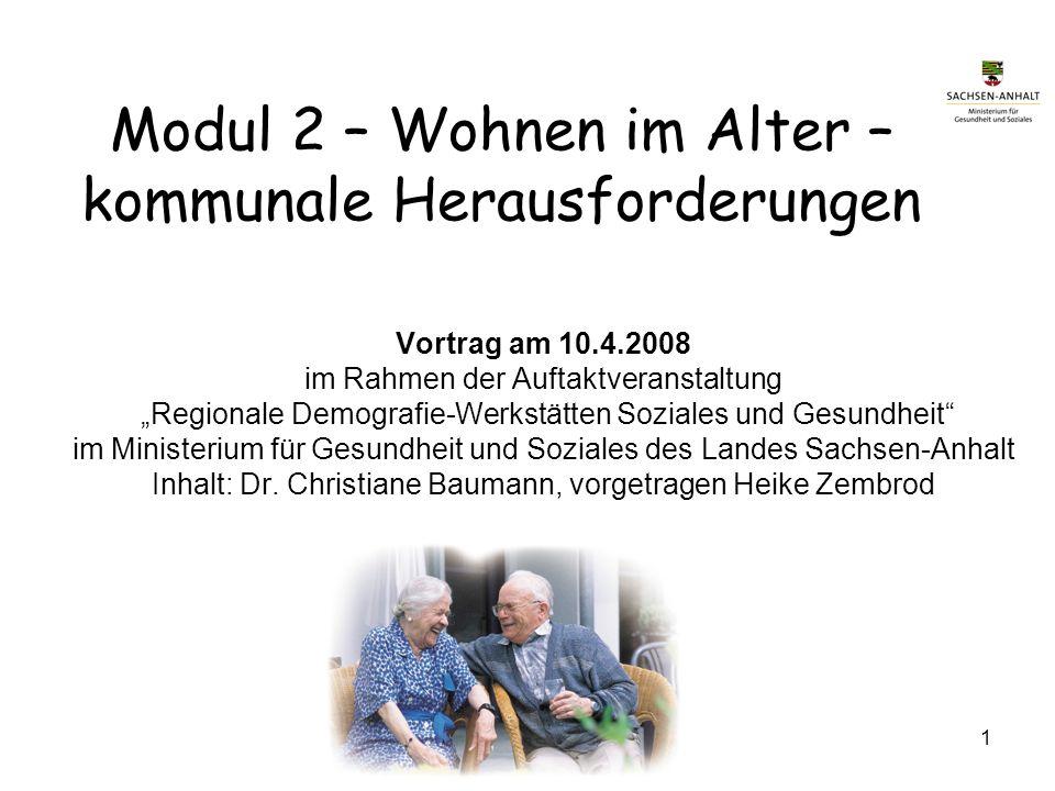 Modul 2 – Wohnen im Alter –kommunale Herausforderungen