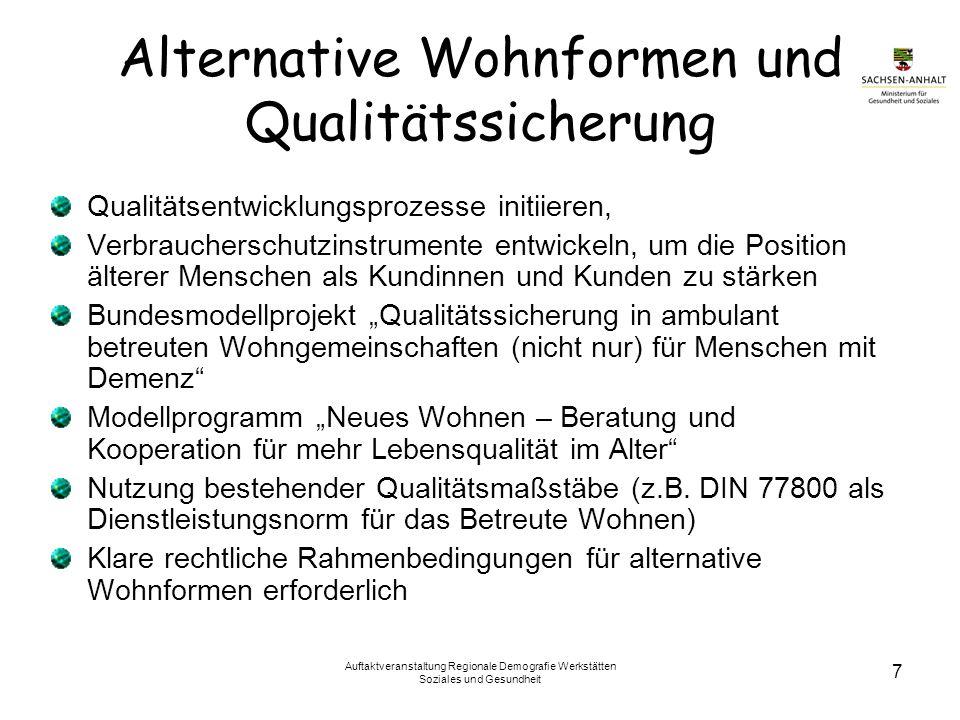 Alternative Wohnformen und Qualitätssicherung