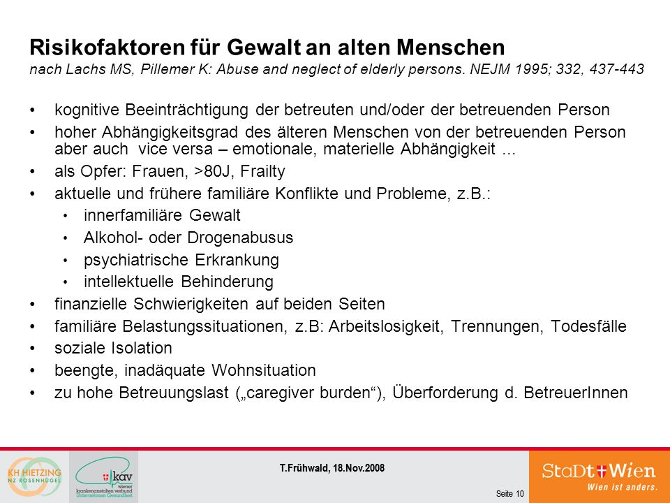 Risikofaktoren für Gewalt an alten Menschen nach Lachs MS, Pillemer K: Abuse and neglect of elderly persons. NEJM 1995; 332, 437-443
