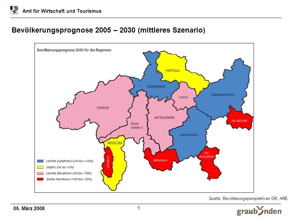 Bevölkerungsprognose 2005 – 2030 (mittleres Szenario)