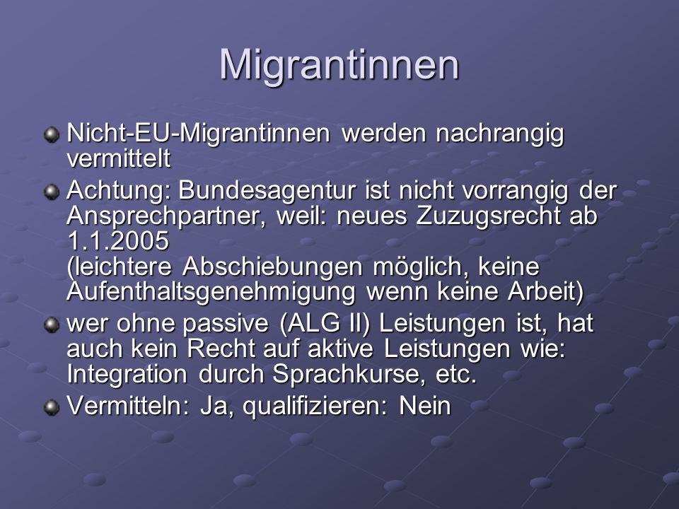 Migrantinnen Nicht-EU-Migrantinnen werden nachrangig vermittelt