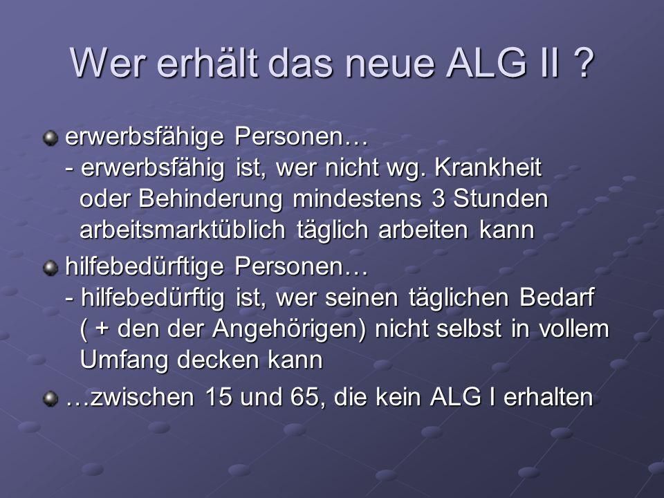 Wer erhält das neue ALG II