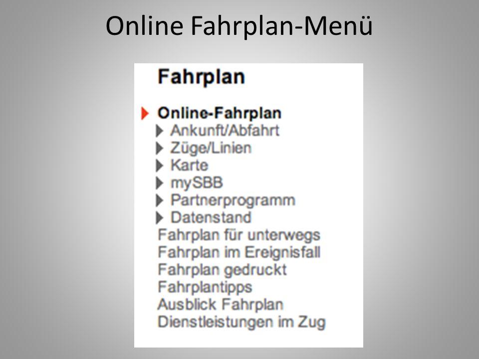 Online Fahrplan-Menü