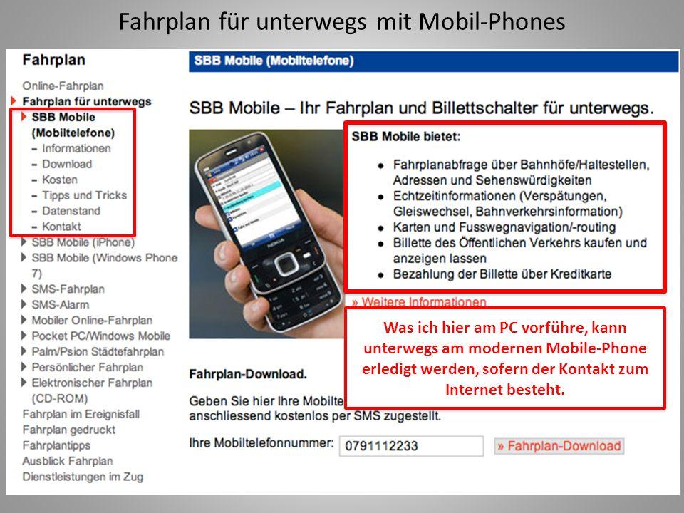 Fahrplan für unterwegs mit Mobil-Phones
