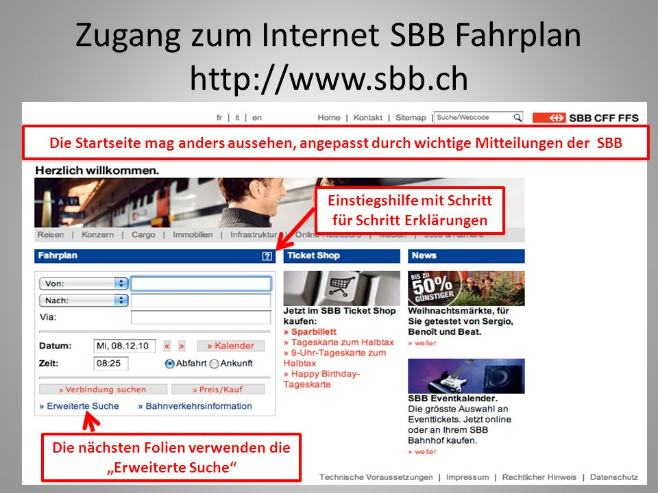Zugang zum Internet SBB Fahrplan http://www.sbb.ch