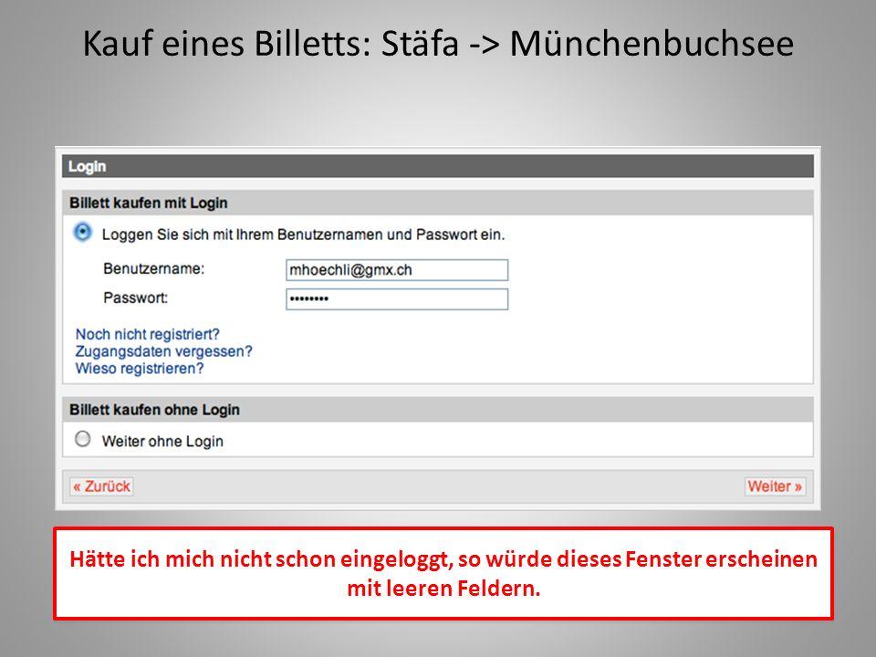 Kauf eines Billetts: Stäfa -> Münchenbuchsee