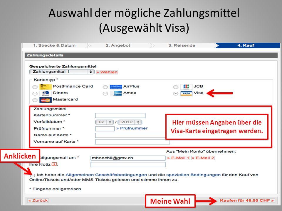 Auswahl der mögliche Zahlungsmittel (Ausgewählt Visa)