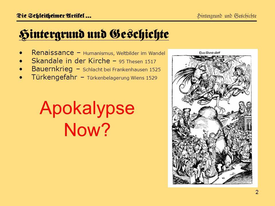 Die Schleitheimer Artikel … Hintergrund und Geschichte