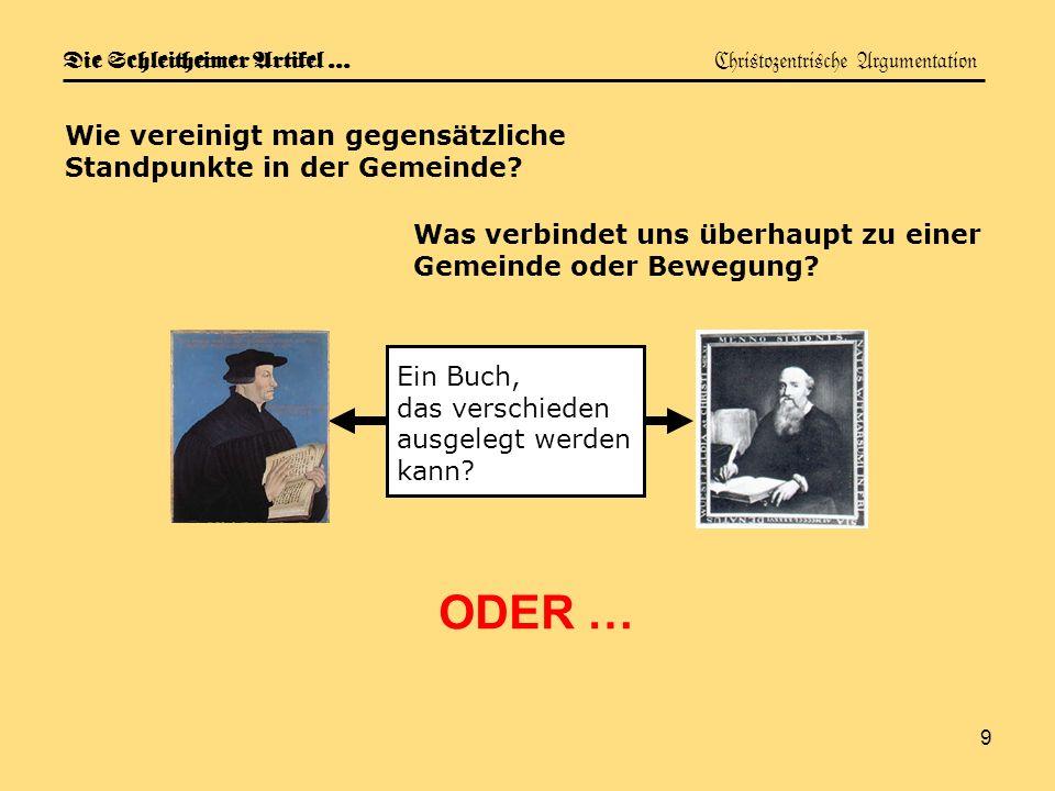 Die Schleitheimer Artikel … Christozentrische Argumentation