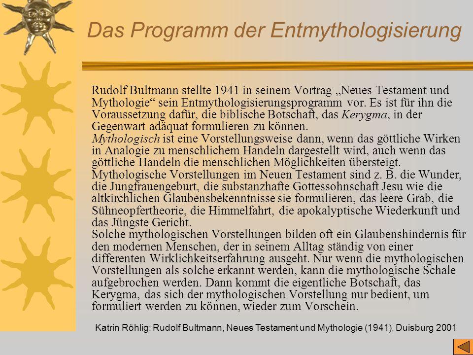 Das Programm der Entmythologisierung