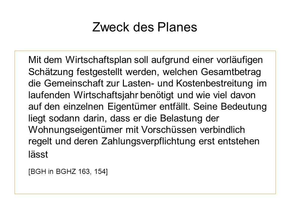 Zweck des Planes