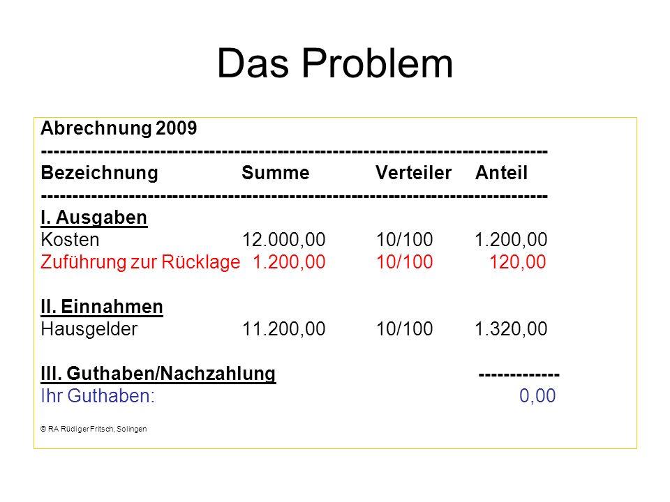 Das Problem Abrechnung 2009