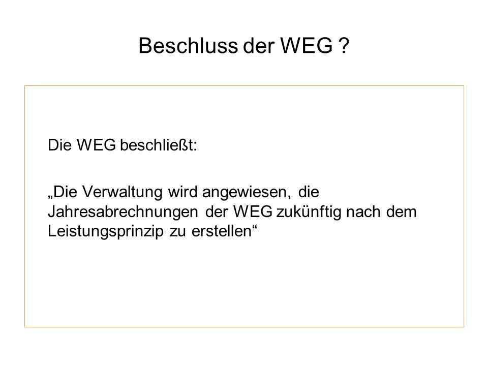 Beschluss der WEG Die WEG beschließt: