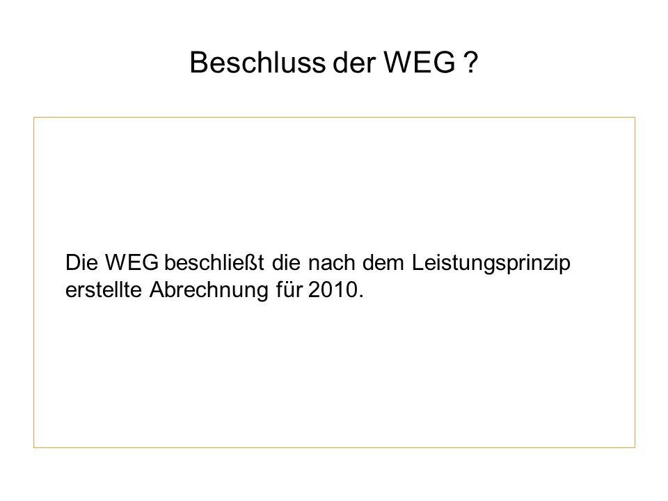 Beschluss der WEG Die WEG beschließt die nach dem Leistungsprinzip erstellte Abrechnung für 2010.