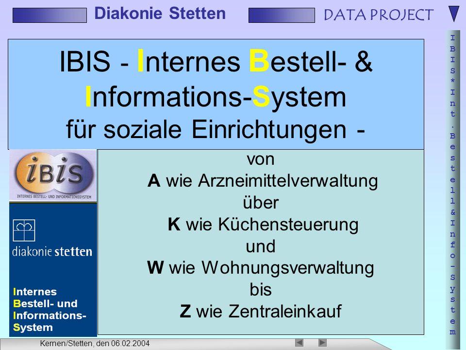 IBIS - Internes Bestell- & Informations-System für soziale Einrichtungen -