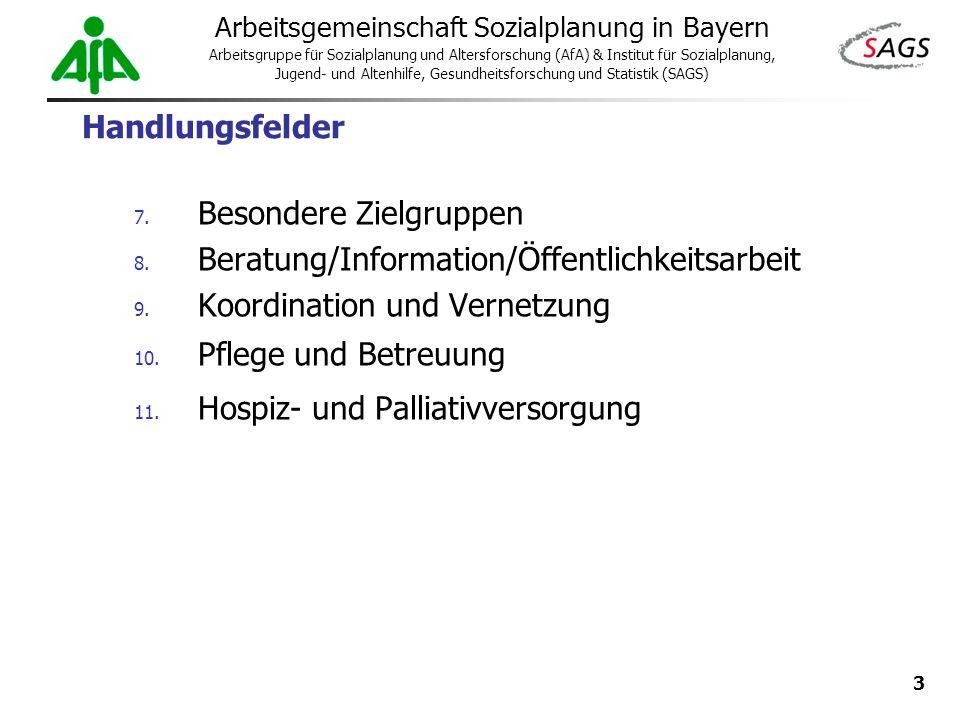 Handlungsfelder Besondere Zielgruppen. Beratung/Information/Öffentlichkeitsarbeit. Koordination und Vernetzung.