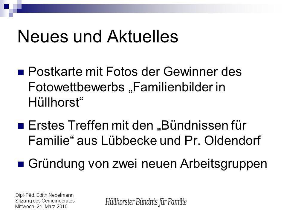"""Neues und Aktuelles Postkarte mit Fotos der Gewinner des Fotowettbewerbs """"Familienbilder in Hüllhorst"""