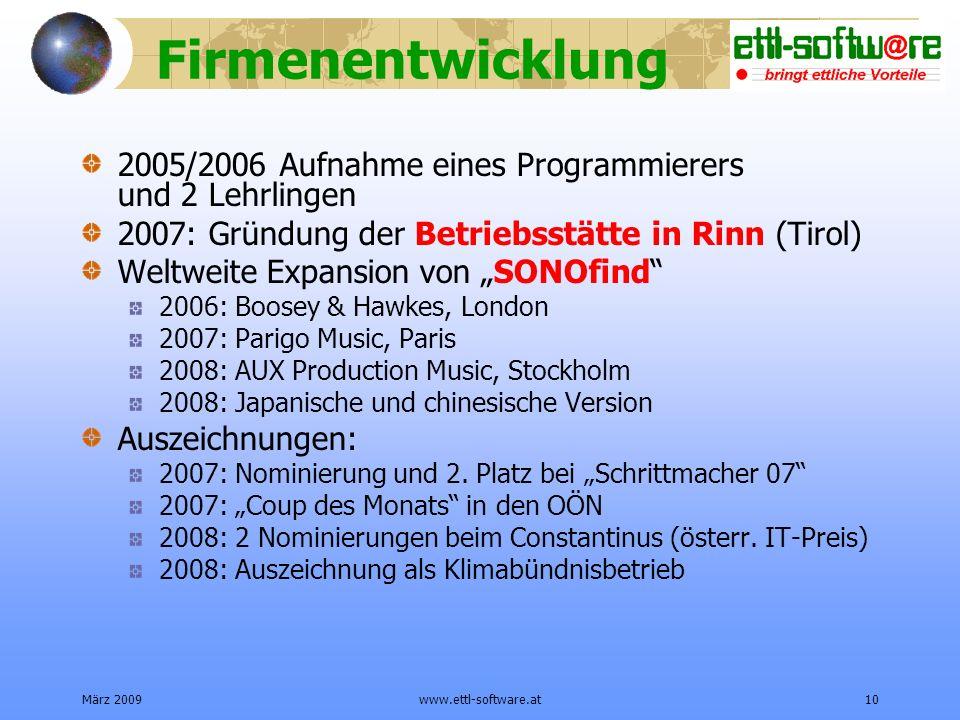 Firmenentwicklung 2005/2006 Aufnahme eines Programmierers und 2 Lehrlingen. 2007: Gründung der Betriebsstätte in Rinn (Tirol)