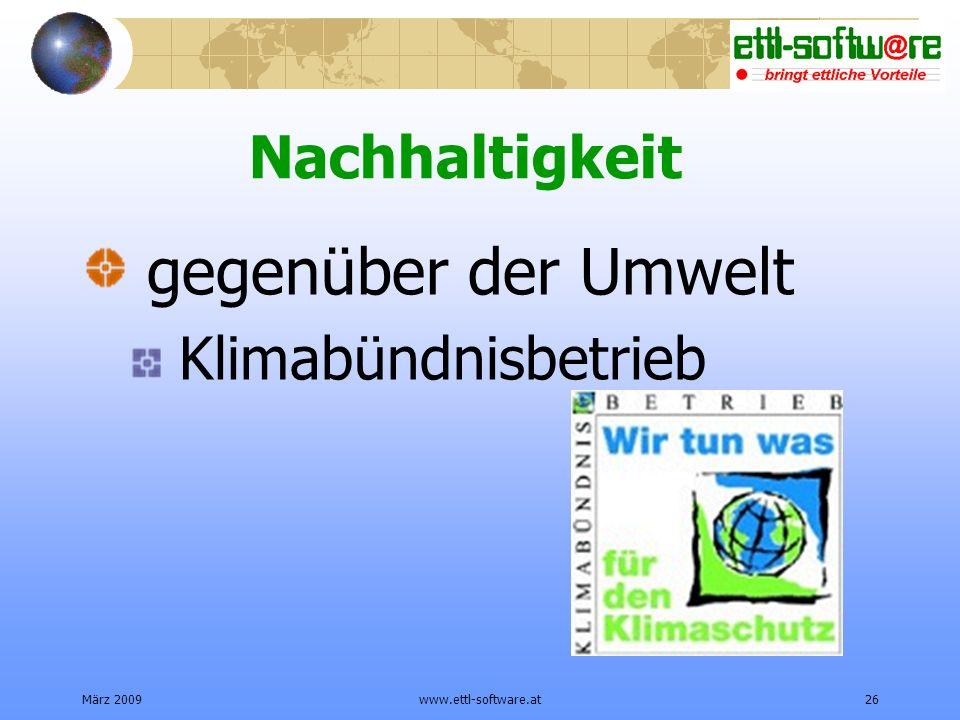 gegenüber der Umwelt Nachhaltigkeit Klimabündnisbetrieb März 2009
