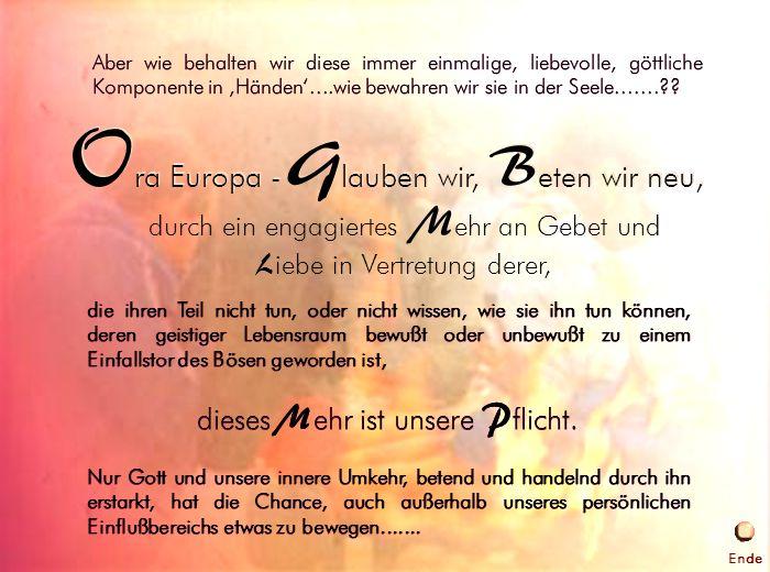 Ora Europa - Glauben wir, Beten wir neu,