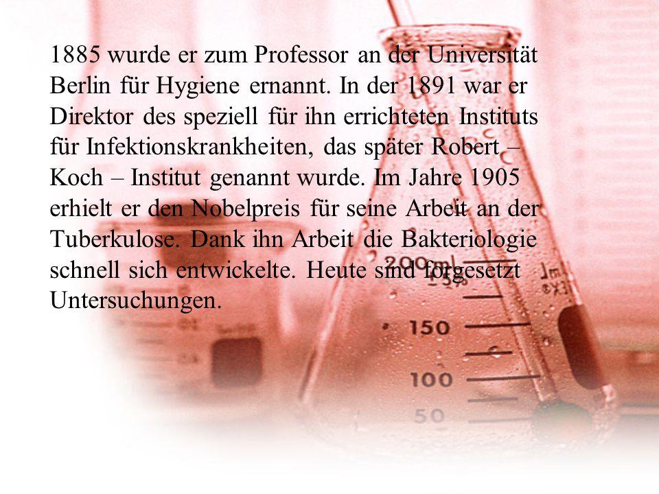 1885 wurde er zum Professor an der Universität Berlin für Hygiene ernannt.