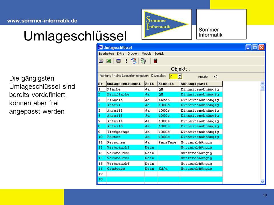 Umlageschlüssel Die gängigsten Umlageschlüssel sind bereits vordefiniert, können aber frei angepasst werden.