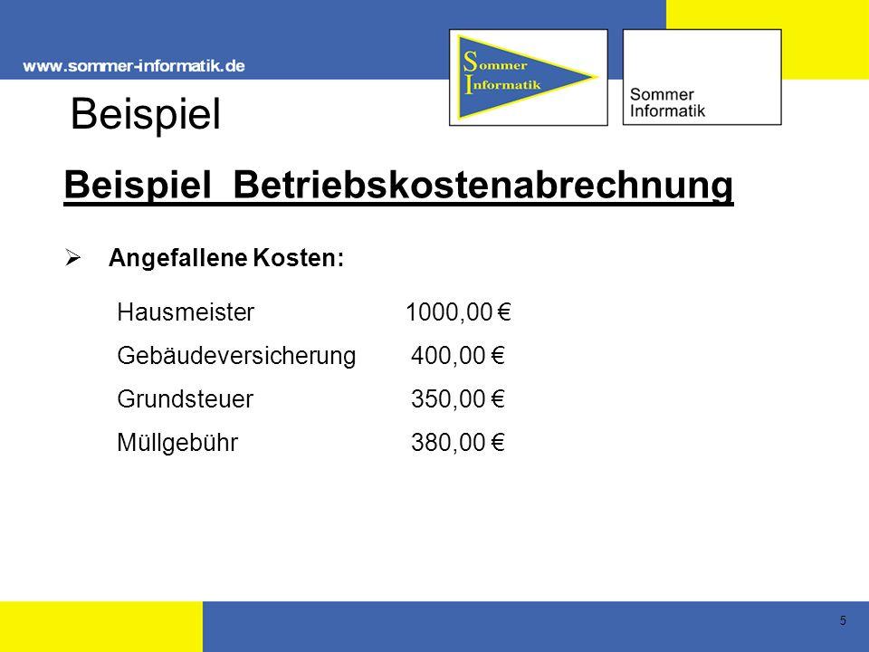 Beispiel Beispiel Betriebskostenabrechnung Angefallene Kosten: