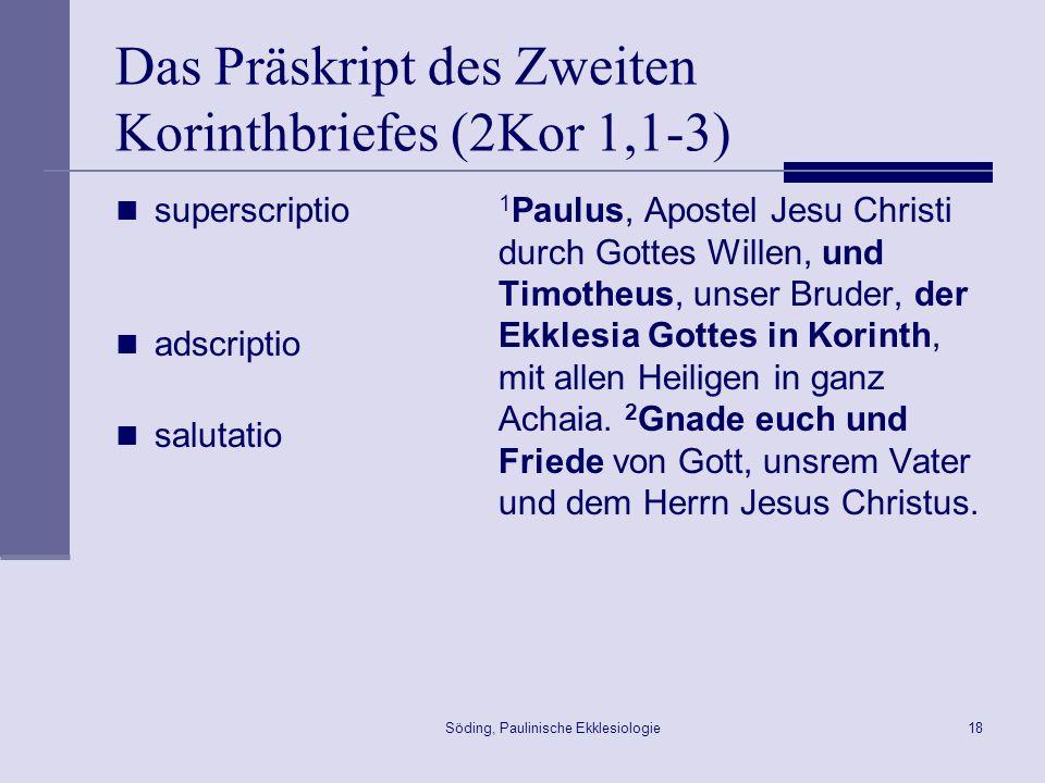 Das Präskript des Zweiten Korinthbriefes (2Kor 1,1-3)