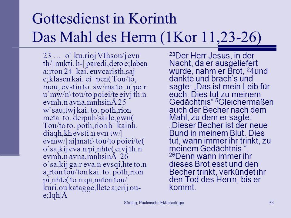 Gottesdienst in Korinth Das Mahl des Herrn (1Kor 11,23-26)