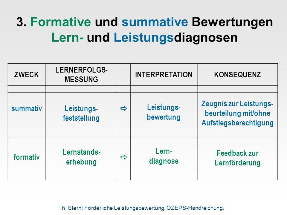 3. Formative und summative Bewertungen Lern- und Leistungsdiagnosen