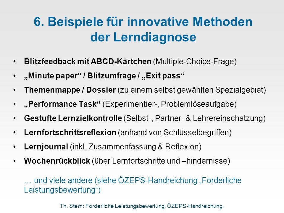 6. Beispiele für innovative Methoden der Lerndiagnose