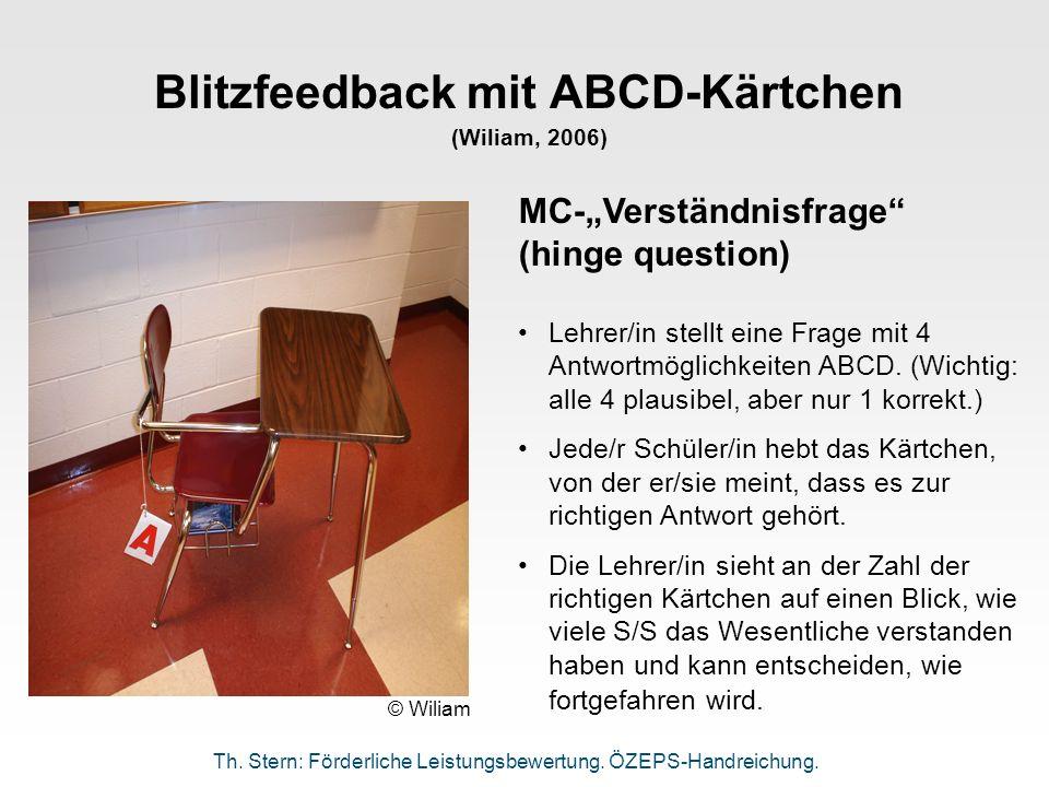 Blitzfeedback mit ABCD-Kärtchen (Wiliam, 2006)