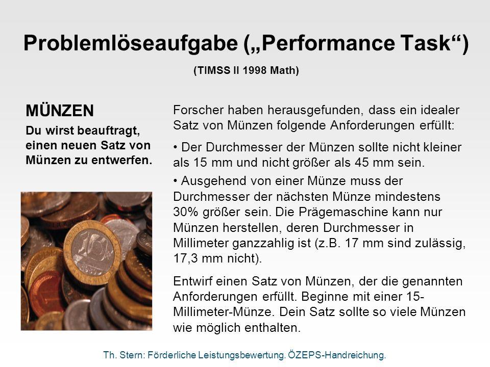 "Problemlöseaufgabe (""Performance Task ) (TIMSS II 1998 Math)"