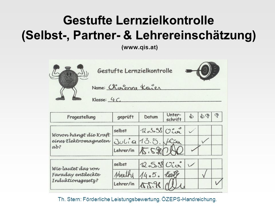 Gestufte Lernzielkontrolle (Selbst-, Partner- & Lehrereinschätzung) (www.qis.at)