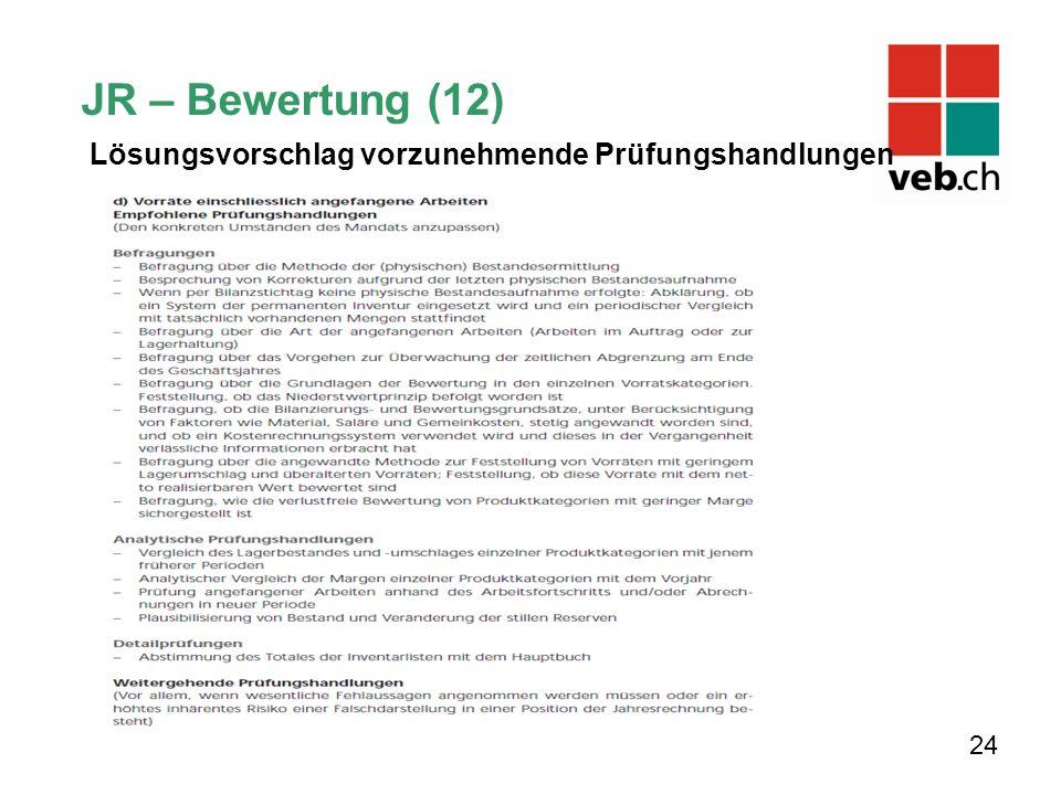 JR – Bewertung (12) Lösungsvorschlag vorzunehmende Prüfungshandlungen