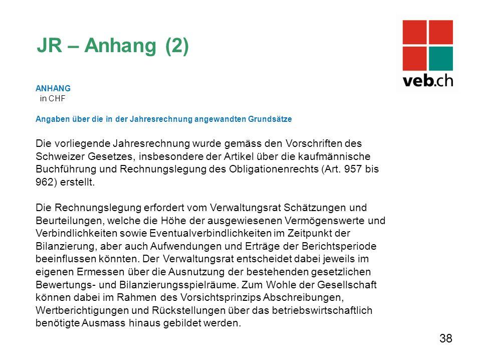 JR – Anhang (2) ANHANG. in CHF. Angaben über die in der Jahresrechnung angewandten Grundsätze.