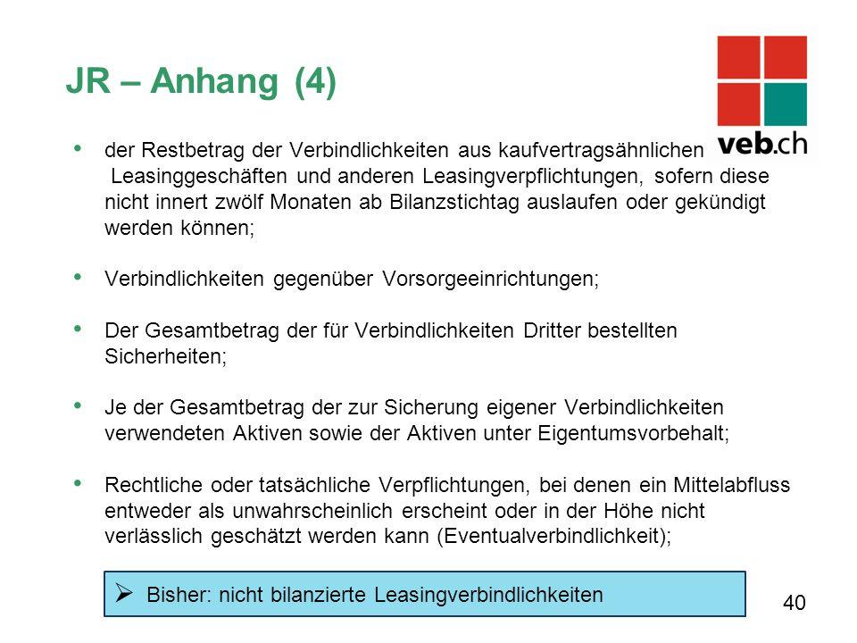 JR – Anhang (4) der Restbetrag der Verbindlichkeiten aus kaufvertragsähnlichen. Leasinggeschäften und anderen Leasingverpflichtungen, sofern diese.