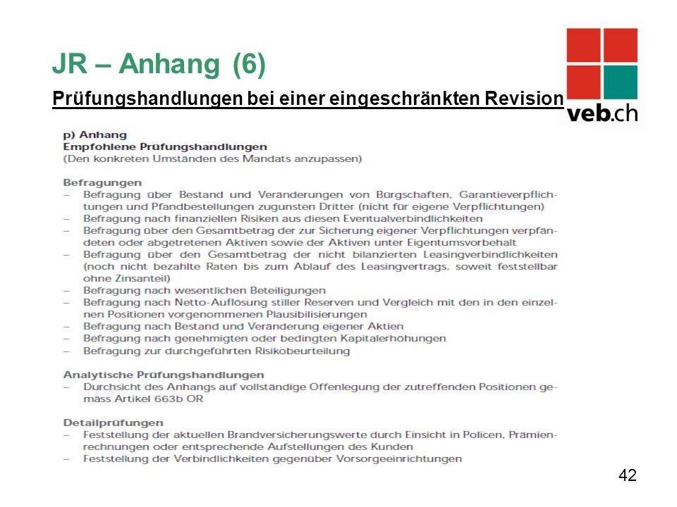 JR – Anhang (6) Prüfungshandlungen bei einer eingeschränkten Revision