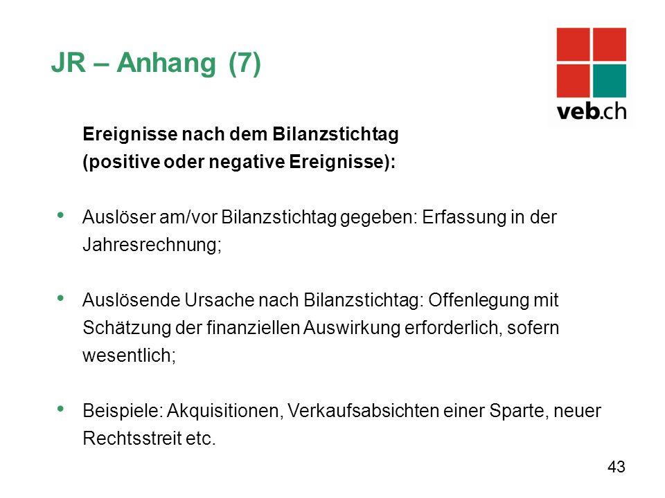 JR – Anhang (7) Ereignisse nach dem Bilanzstichtag (positive oder negative Ereignisse):