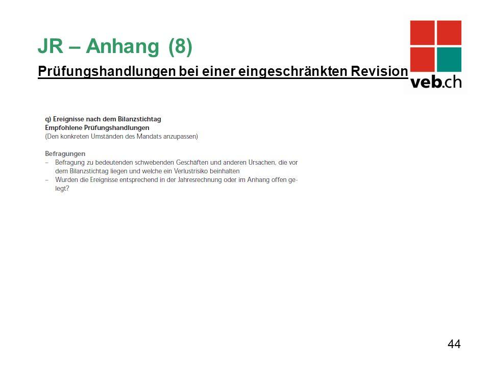 JR – Anhang (8) Prüfungshandlungen bei einer eingeschränkten Revision