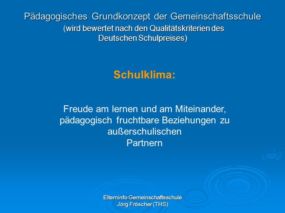 Pädagogisches Grundkonzept der Gemeinschaftsschule (wird bewertet nach den Qualitätskriterien des Deutschen Schulpreises)