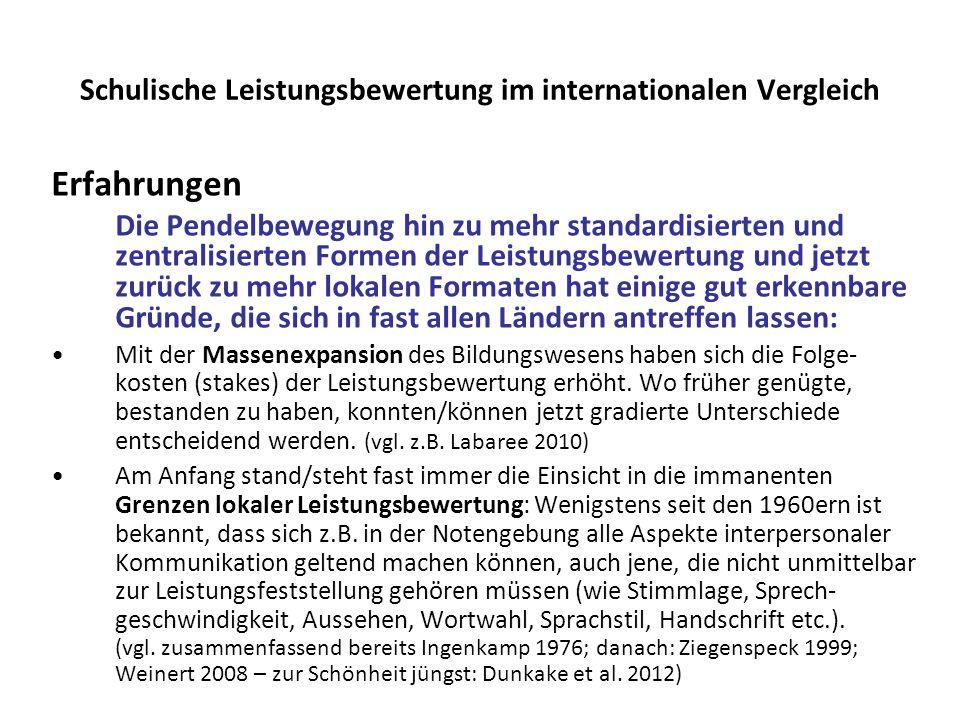 Schulische Leistungsbewertung im internationalen Vergleich