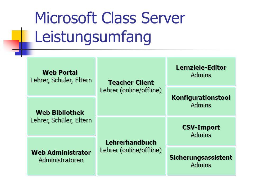 Microsoft Class Server Leistungsumfang