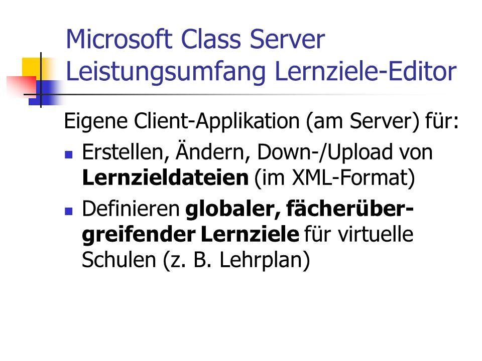Microsoft Class Server Leistungsumfang Lernziele-Editor