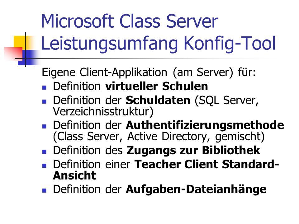 Microsoft Class Server Leistungsumfang Konfig-Tool