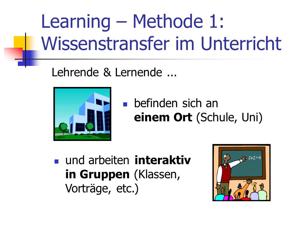 Learning – Methode 1: Wissenstransfer im Unterricht