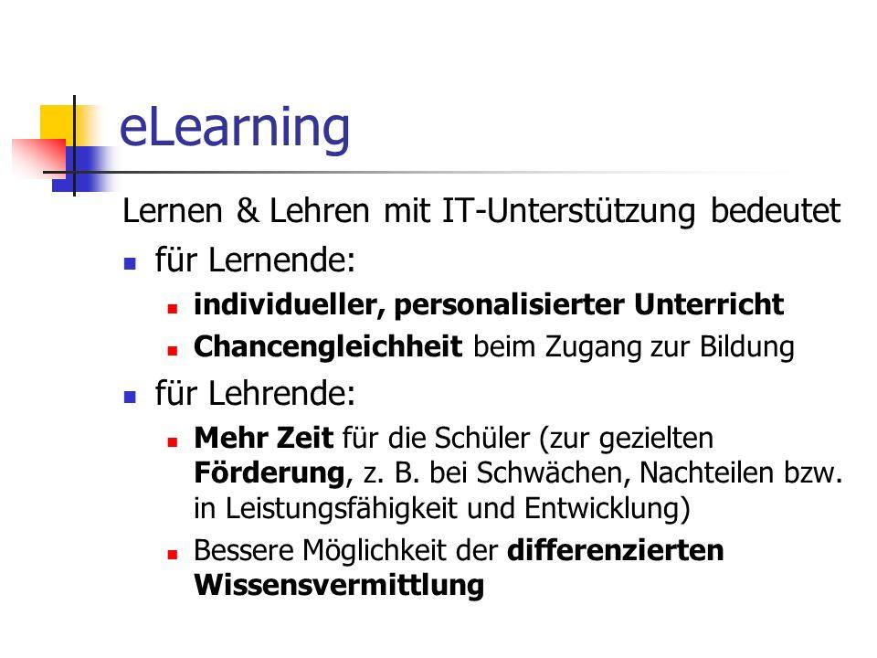 eLearning Lernen & Lehren mit IT-Unterstützung bedeutet für Lernende: