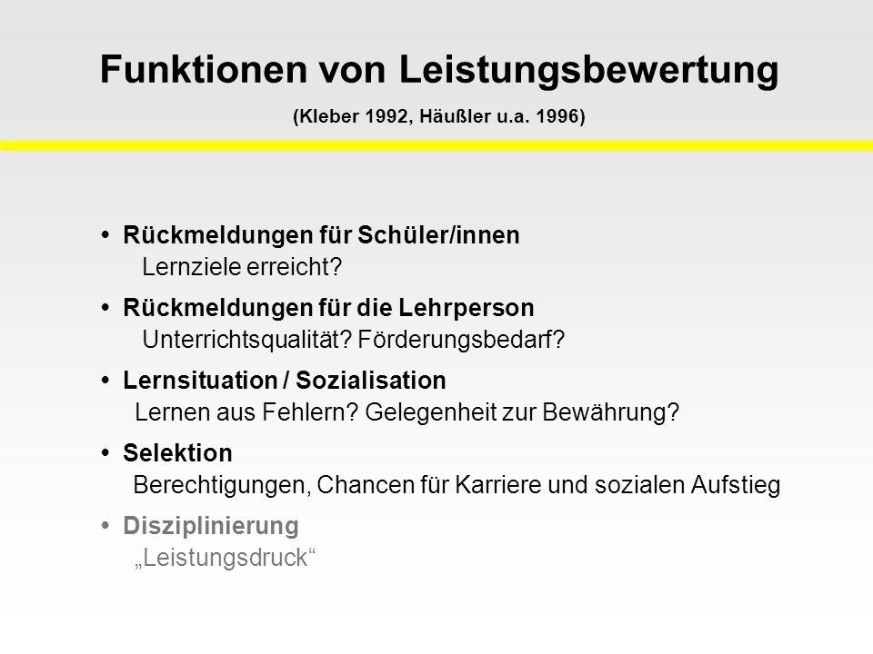 Funktionen von Leistungsbewertung (Kleber 1992, Häußler u.a. 1996)